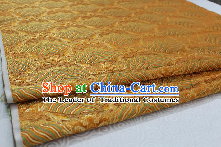 Chinese Traditional Royal Palace Pattern Mongolian Robe Golden Brocade Fabric, Chinese Ancient Emperor Costume Drapery Hanfu Tang Suit Material