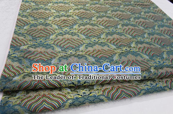 Chinese Traditional Royal Palace Pattern Mongolian Robe Green Brocade Fabric, Chinese Ancient Emperor Costume Drapery Hanfu Tang Suit Material