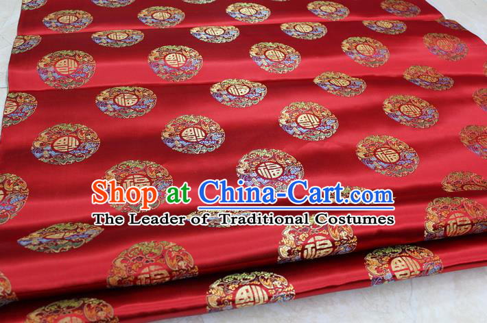 Chinese Traditional Royal Palace Fu Character Pattern Mongolian Robe Red Brocade Fabric, Chinese Ancient Emperor Costume Drapery Hanfu Tang Suit Material