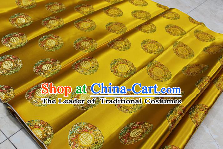 Chinese Traditional Royal Palace Fu Character Pattern Mongolian Robe Golden Brocade Fabric, Chinese Ancient Emperor Costume Drapery Hanfu Tang Suit Material