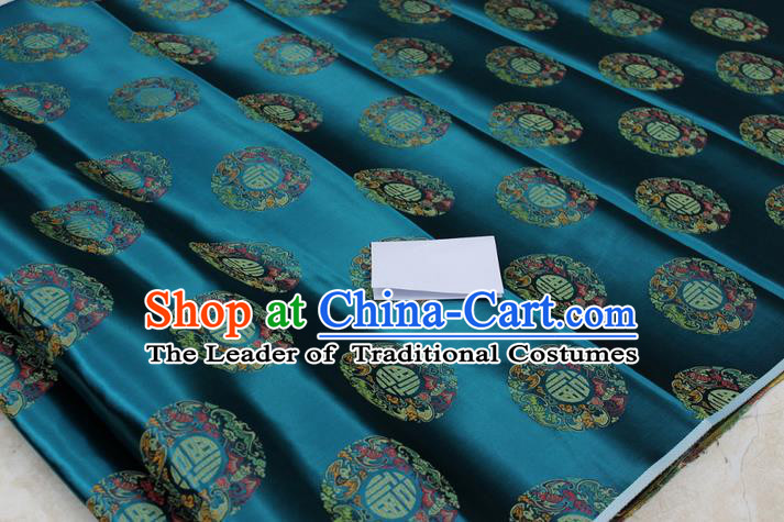 Chinese Traditional Royal Palace Fu Character Pattern Mongolian Robe Peacock Green Brocade Fabric, Chinese Ancient Emperor Costume Drapery Hanfu Tang Suit Material