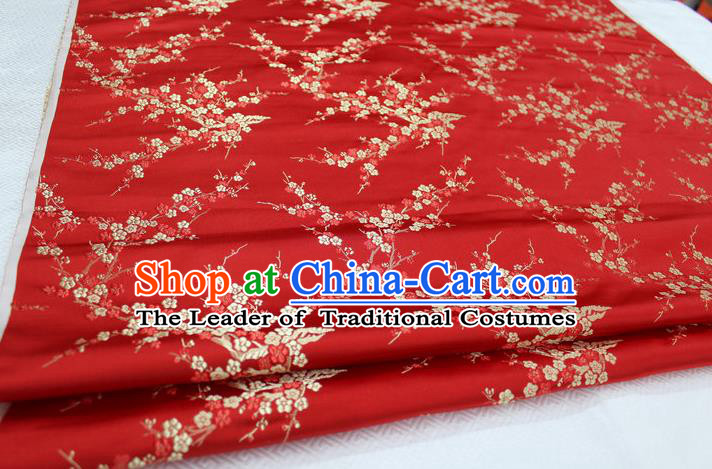 Chinese Traditional Royal Palace Wintersweet Pattern Cheongsam Red Brocade Fabric, Chinese Ancient Emperor Costume Drapery Hanfu Tang Suit Material