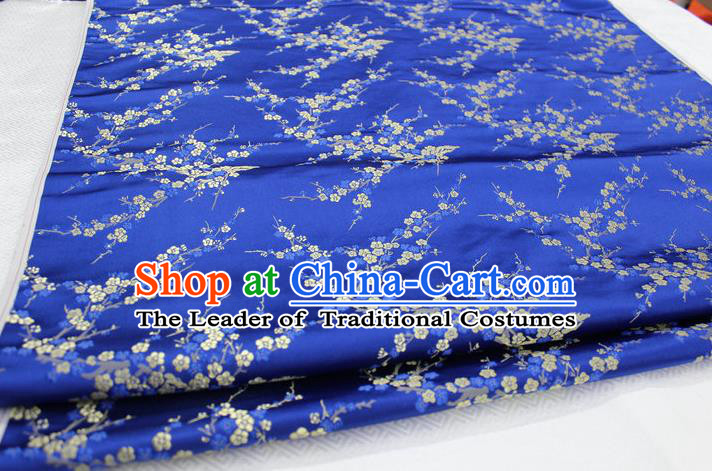 Chinese Traditional Royal Palace Wintersweet Pattern Cheongsam Royalblue Brocade Fabric, Chinese Ancient Emperor Costume Drapery Hanfu Tang Suit Material