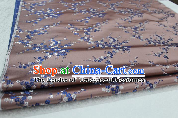 Chinese Traditional Royal Palace Wintersweet Pattern Cheongsam Incarnadine Brocade Fabric, Chinese Ancient Emperor Costume Drapery Hanfu Tang Suit Material