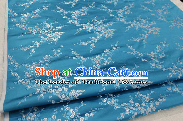 Chinese Traditional Royal Palace Wintersweet Pattern Cheongsam Lake Blue Brocade Fabric, Chinese Ancient Emperor Costume Drapery Hanfu Tang Suit Material