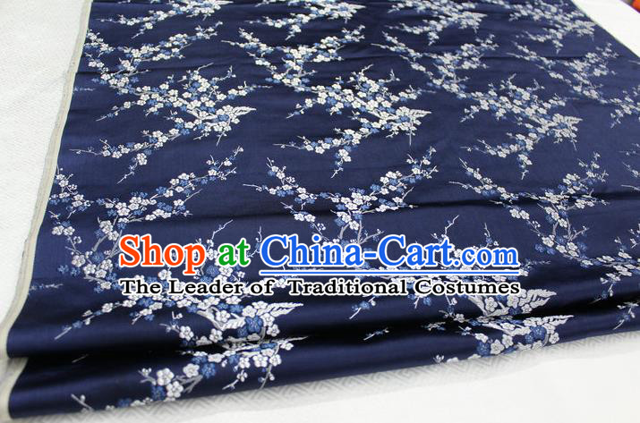 Chinese Traditional Royal Palace Wintersweet Pattern Cheongsam Navy Brocade Fabric, Chinese Ancient Emperor Costume Drapery Hanfu Tang Suit Material