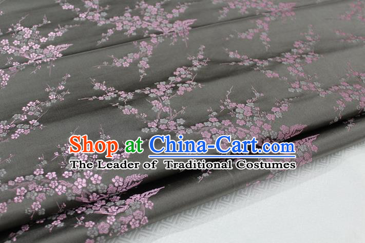 Chinese Traditional Royal Palace Wintersweet Pattern Cheongsam Deep Grey Brocade Fabric, Chinese Ancient Emperor Costume Drapery Hanfu Tang Suit Material