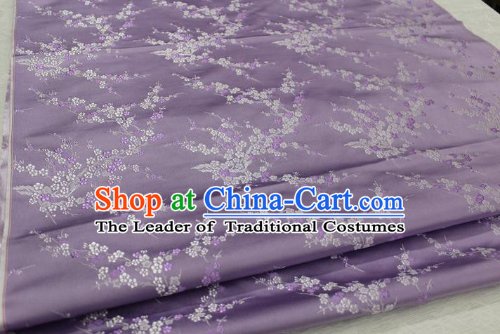 Chinese Traditional Royal Palace Wintersweet Pattern Cheongsam Lilac Brocade Fabric, Chinese Ancient Emperor Costume Drapery Hanfu Tang Suit Material