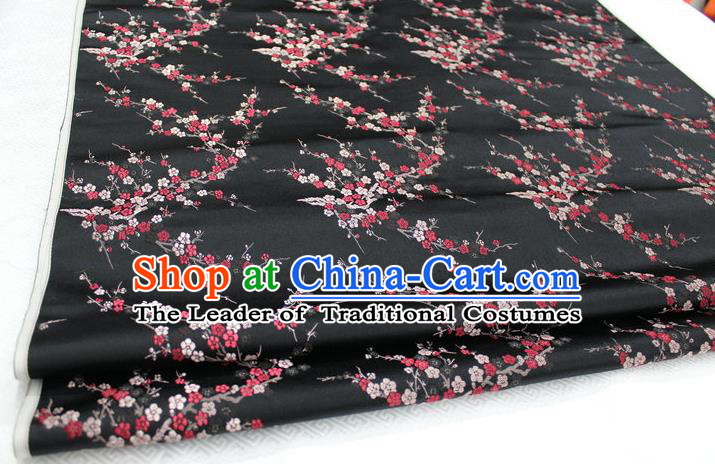 Chinese Traditional Royal Palace Wintersweet Pattern Cheongsam Black Brocade Fabric, Chinese Ancient Emperor Costume Drapery Hanfu Tang Suit Material