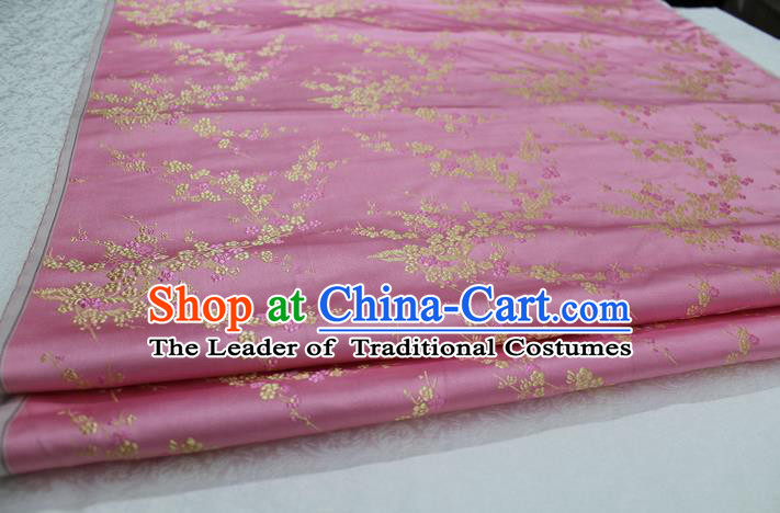 Chinese Traditional Royal Palace Wintersweet Pattern Cheongsam Pink Brocade Fabric, Chinese Ancient Emperor Costume Drapery Hanfu Tang Suit Material