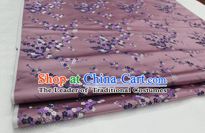 Chinese Traditional Royal Palace Wintersweet Pattern Cheongsam Deep Pink Brocade Fabric, Chinese Ancient Emperor Costume Drapery Hanfu Tang Suit Material