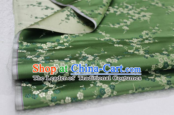 Chinese Traditional Royal Palace Wintersweet Pattern Cheongsam Green Brocade Fabric, Chinese Ancient Emperor Costume Drapery Hanfu Tang Suit Material