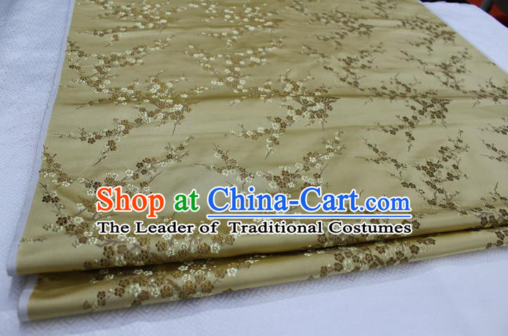 Chinese Traditional Royal Palace Wintersweet Pattern Cheongsam Golden Brocade Fabric, Chinese Ancient Emperor Costume Drapery Hanfu Tang Suit Material