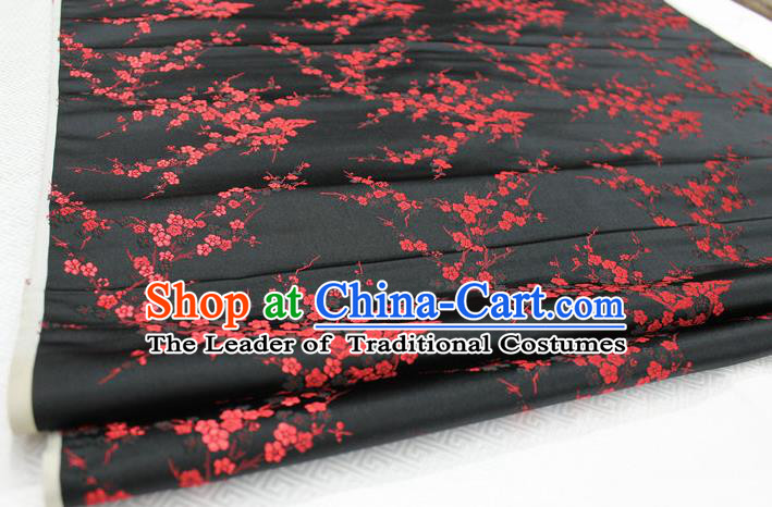 Chinese Traditional Royal Palace Red Wintersweet Pattern Cheongsam Black Brocade Fabric, Chinese Ancient Emperor Costume Drapery Hanfu Tang Suit Material