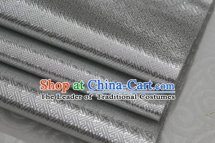 Chinese Traditional Royal Palace Pattern Mongolian Robe Grey Brocade Fabric, Chinese Ancient Emperor Costume Drapery Hanfu Tang Suit Material