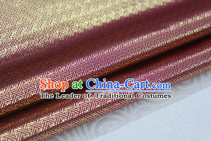 Chinese Traditional Royal Palace Pattern Mongolian Robe Wine Red Brocade Fabric, Chinese Ancient Emperor Costume Drapery Hanfu Tang Suit Material