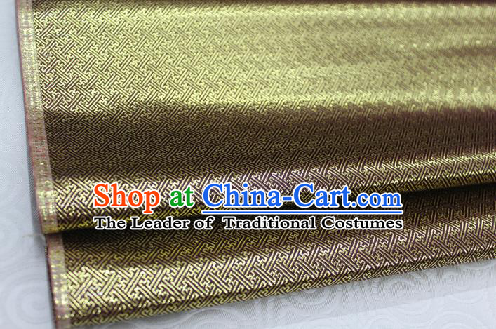 Chinese Traditional Royal Palace Pattern Mongolian Robe Mud Golden Brocade Fabric, Chinese Ancient Emperor Costume Drapery Hanfu Tang Suit Material