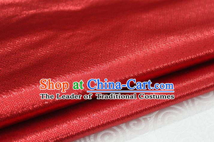 Chinese Traditional Royal Palace Pattern Mongolian Robe Red Brocade Fabric, Chinese Ancient Emperor Costume Drapery Hanfu Tang Suit Material