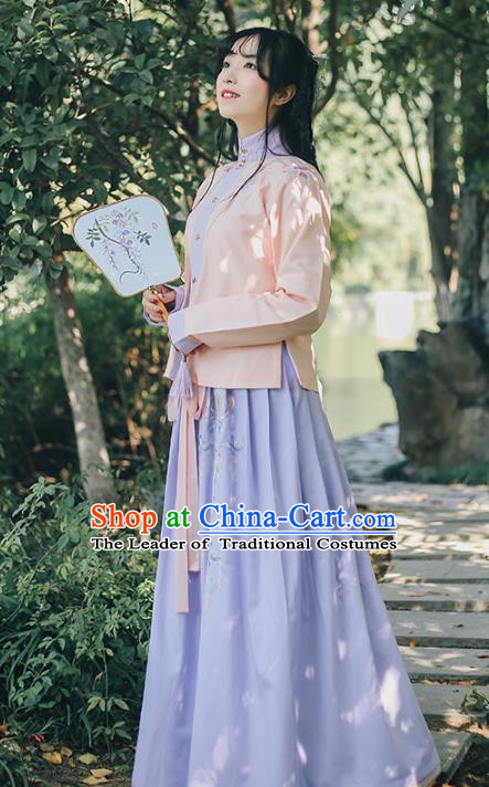 Traditional Chinese Ancient Ming Dynasty Young Lady Hanfu Princess Costume Embroidered Blouse and Skirt Complete Set for Women