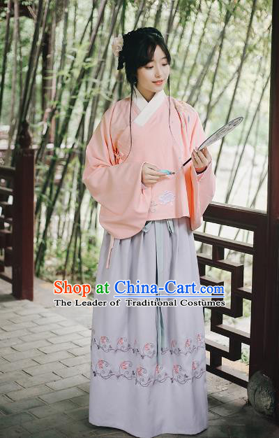 Traditional Chinese Ming Dynasty Young Lady Ancient Princess Hanfu Costume Embroidered Sleeve Placket Blouse and Skirt for Women