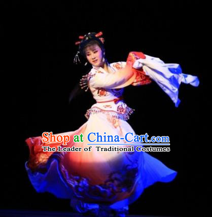 Traditional Ancient Chinese Dancing Costume, Chinese Folk Dance Water Sleeves Dress, Chinese Imperial Emperess Embroidery Costume for Women