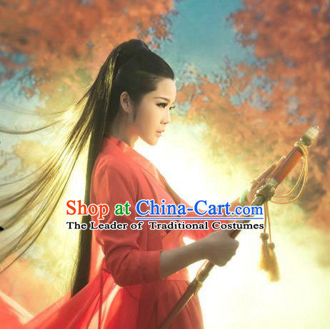 Ancient Chinese Swordsman Red Costumes for Women