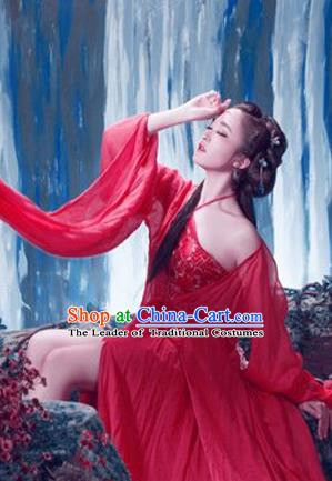 Traditional Ancient Chinese Imperial Consort Sexy Costume, Elegant Hanfu Clothing Chinese Han Dynasty Imperial Emperess Water Sleeves Clothing for Women