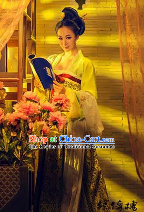 Traditional Ancient Chinese Imperial Consort Costume, Elegant Hanfu Clothing Chinese Tang Dynasty Imperial Emperess Long Water Sleeve Clothing for Women