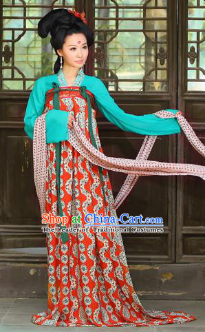 Traditional Ancient Chinese Imperial Consort Costume, Elegant Hanfu Clothing Chinese Tang Dynasty Imperial Emperess Printed Chiffon Clothing for Women