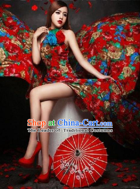 Traditional Chinese Wedding Costume, Elegant Chinese Wedding Bride Toast Placketing Dress Embroidered Clothing for Women