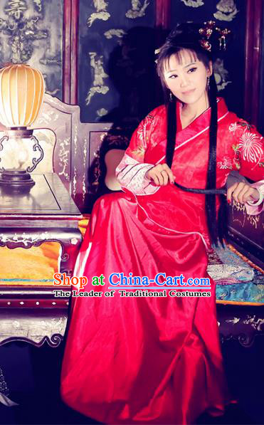 Traditional Ancient Chinese Wedding Costume, Elegant Hanfu Clothing Chinese Ming Dynasty Imperial Emperess Bride Embroidered Clothing for Women