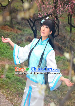 Traditional Ancient Chinese Imperial Consort Costume, Elegant Manchu Clothing Chinese Qing Dynasty Imperial Emperess Blue Clothing for Women