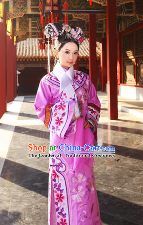 Traditional Ancient Chinese Imperial Consort Costume, Chinese Qing Dynasty Manchu Pink Dress, Cosplay Chinese Mandchous Imperial Princess Embroidered Clothing for Women