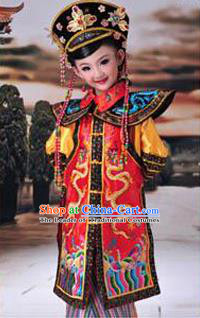 Traditional Ancient Chinese Imperial Princess Children Costume, Chinese Qing Dynasty Manchu Little Girl Phoenix Robe, Cosplay Chinese Concubine Embroidered Clothing for Kids
