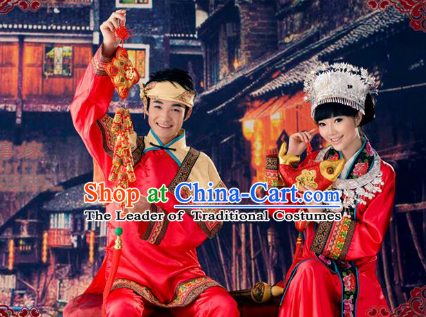 Traditional Chinese Miao Nationality Wedding Costume, Hmong Bride and Bridegroom Folk Dance Ethnic Pleated Skirt, Chinese Minority Nationality Embroidery Costume for Women foe Men