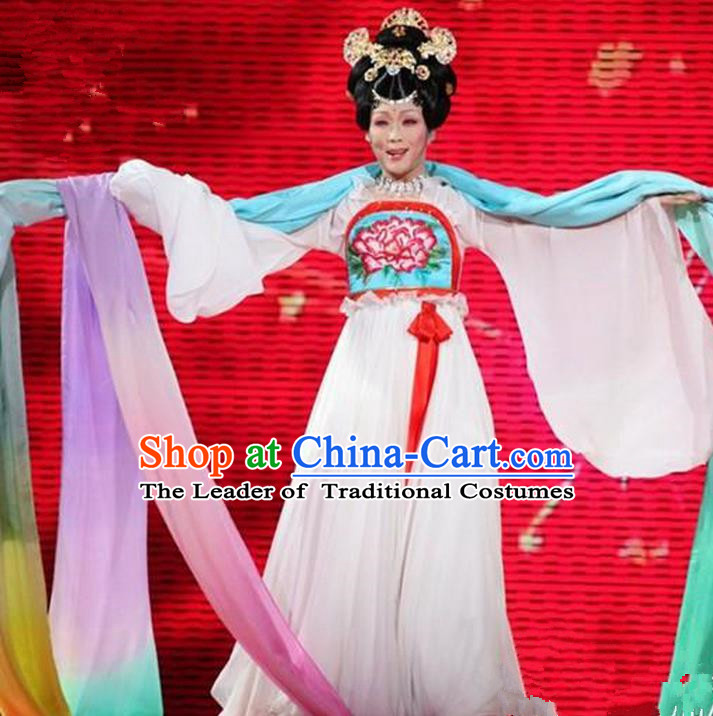 Traditional Ancient Chinese Peking Opera Imperial Emperess Costume, Elegant Hanfu Clothing Chinese Tang Dynasty Imperial Emperess Clothing for Women