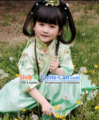 Traditional Ancient Chinese Costume Girl Pleated Skirt, Chinese Late Qing Dynasty Young Lady DressGeneral Chai and Lady Balsam Blouse, Republic of China Embroidered Clothing for Kids