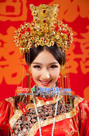 Chinese Wedding Jewelry Accessories Traditional Xiuhe Suits Wedding Bride Headwear Wedding Tiara Ancient Chinese Tassel Harpins for Women