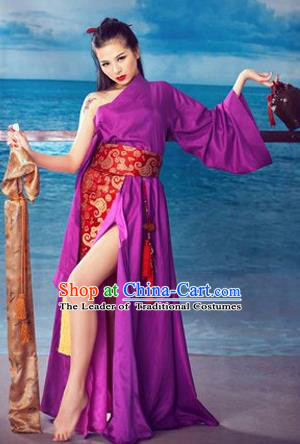 Ancient Chinese Swordsman Purple Sexy Costumes for Women