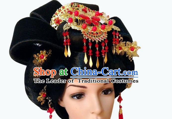 Chinese Wedding Jewelry Accessories Traditional Xiuhe Suits Wedding Bride Headwear, Wedding Hair Accessories, Ancient Chinese Tang Dynasty Harpins Complete Set for Women