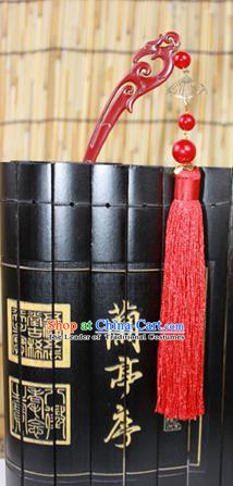 Traditional Handmade Chinese Ancient Classical Hair Accessories Barrettes Hairpin, Hair Sticks Hair Jewellery, Red Tassel Hairpins for Women