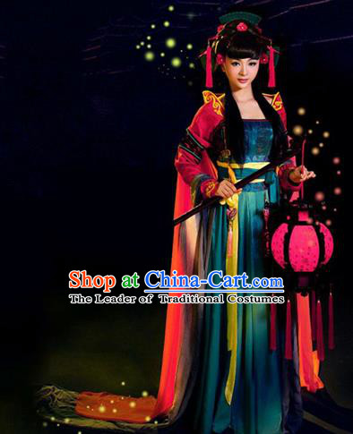 Traditional Ancient Chinese Costume, Costumes Elegant Hanfu Clothing Chinese Goddess Chang E Flying Moon Clothing for Women
