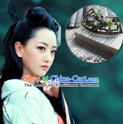 Traditional Handmade Chinese Ancient Classical Hair Accessories Han Dynasty Hairpin, Hanfu Jade Hair Jewellery, Hair Fascinators Hairpins for Women