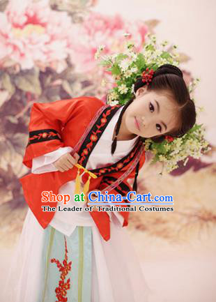 Traditional Ancient Chinese Imperial Princess Children Costume, Chinese Tang Dynasty Little Girls Dress, Cosplay Chinese Princess Embroidered Hanfu Clothing for Kids
