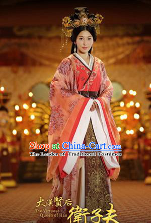Traditional Ancient Chinese Imperial Consort Wedding Costume, Elegant Hanfu Clothing Chinese Han Dynasty Imperial Emperess Tailing Embroidered Clothing for Women