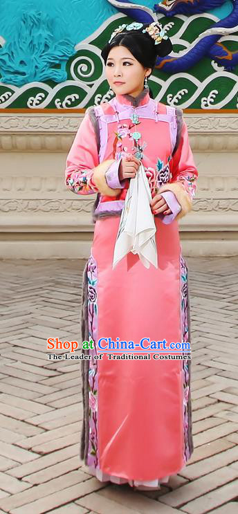 Traditional Ancient Chinese Imperial Consort Costume, Chinese Qing Dynasty Manchu Lady Dress and Vest, Chinese Mandarin Embroidering Flower Robes Imperial Concubine Embroidered Clothing for Women