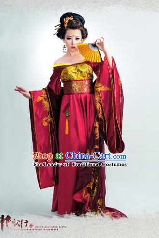 Traditional Ancient Chinese Imperial Consort Costume, Elegant Hanfu Clothing Chinese Tang Dynasty Imperial Empress Tailing Phoenix Clothing for Women