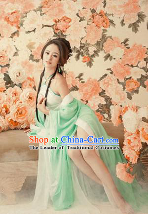 Traditional Ancient Chinese Water Sleeves Dance Costume, Elegant Chinese Tang Dynasty Imperial Consort Embroidered Clothing for Women