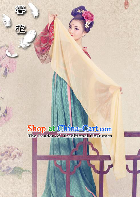 Traditional Ancient Chinese Female Costume, Elegant Hanfu Clothing Chinese Tang Dynasty Imperial Consort Trailing Clothing for Women