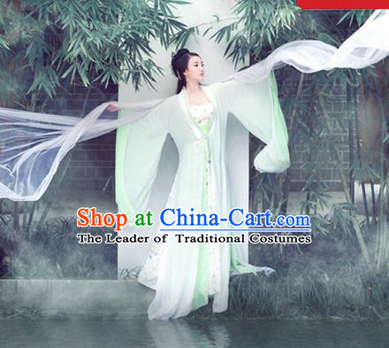 Traditional Ancient Chinese Female Dance Costume, Elegant Hanfu Fairy Clothing Chinese Tang Dynasty Imperial Consort White Clothing for Women